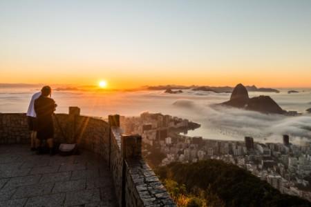 Mirante Dona Marta observation deck overlooking Rio de Janeiro at sunrise
