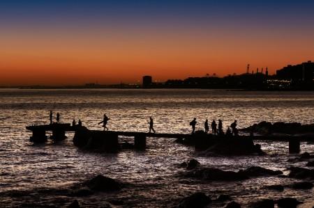 Sunset docks Montevideo Uruguay
