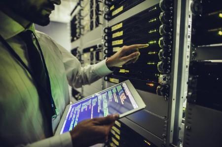 Man working in data center.