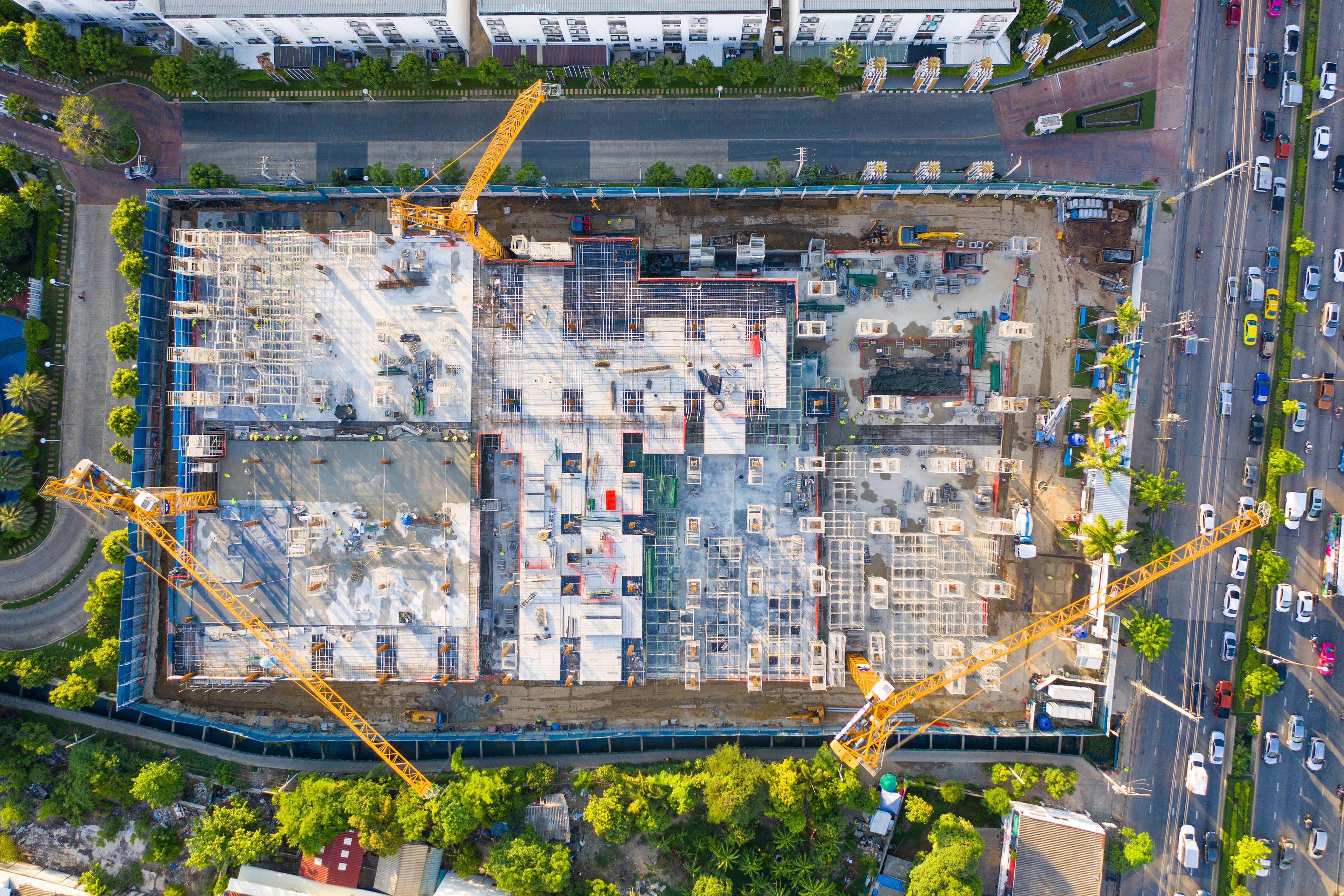 Top view of construction site