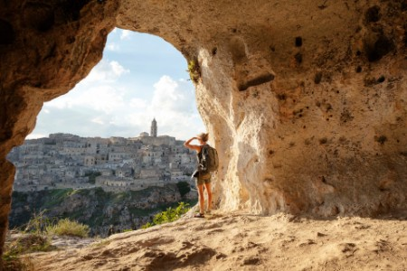 woman looking at view cave matera