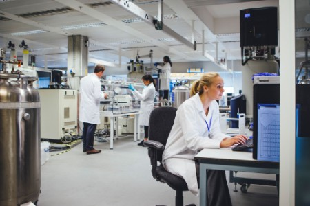 Medical research team working in a laboratory