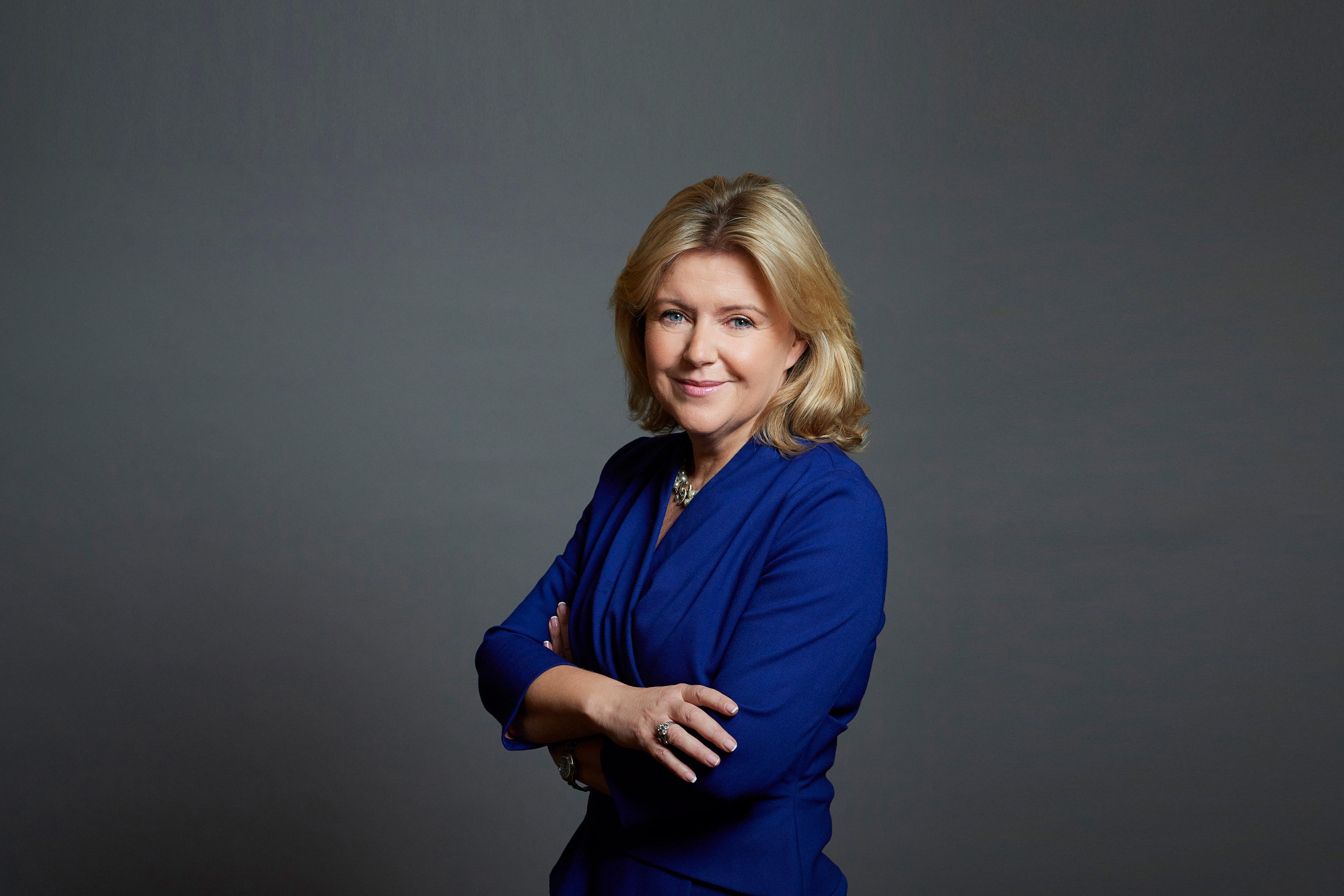 A photographic portrait of Rosaleen Blair CBE