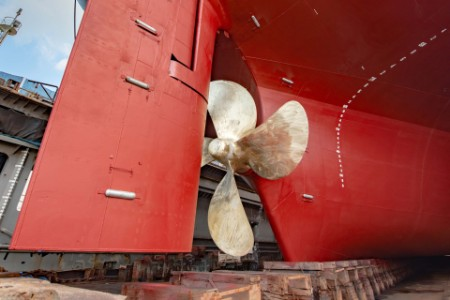 Commercial ship dry dock propeller