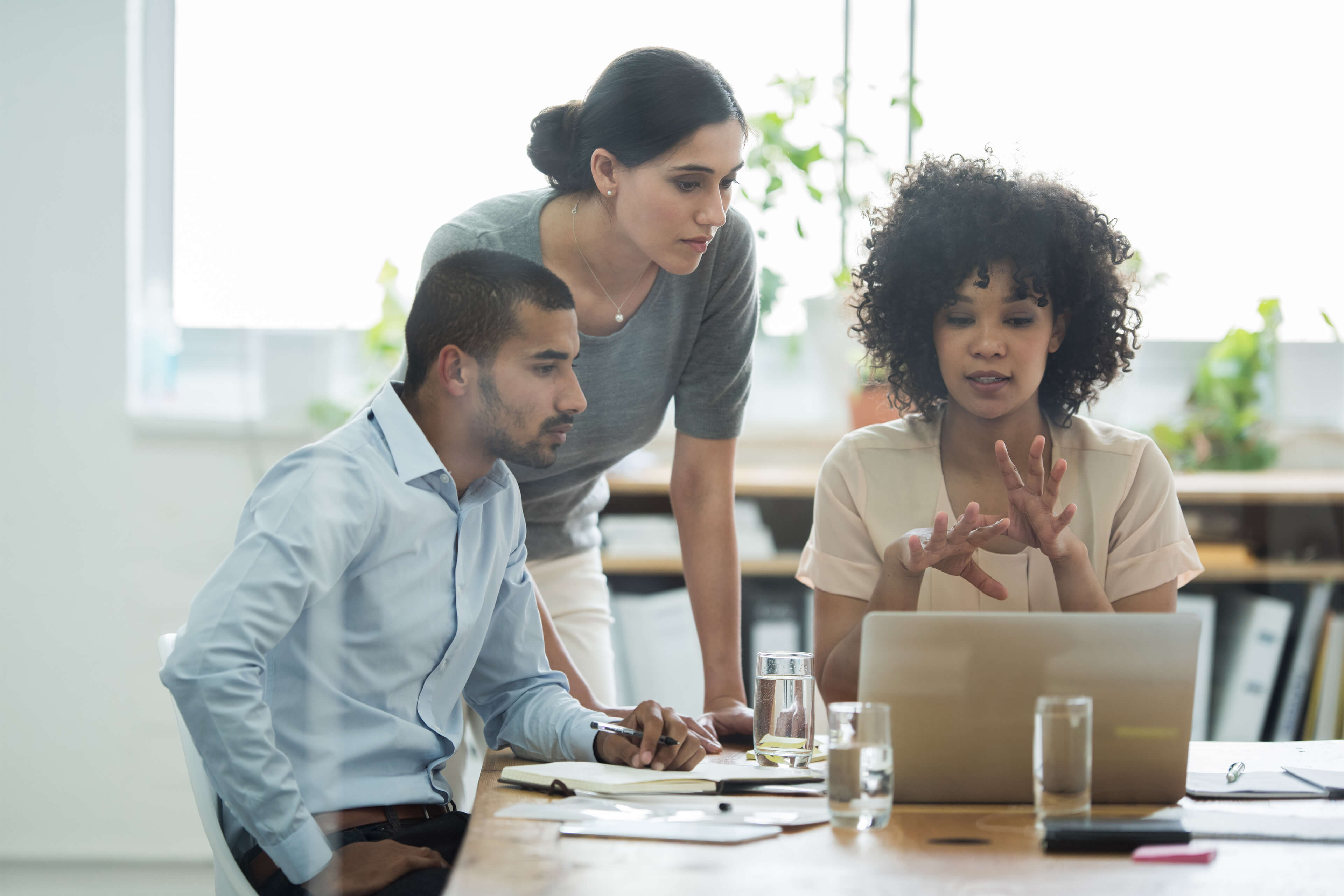 Gender diverse team working together in an office space