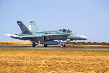 Royal Australian Air Force Fa 18 Hornet Fighter Prepares for Takeoff