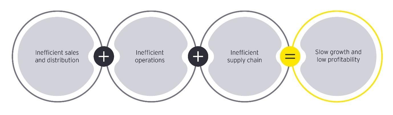 Core inefficiencies impacting a CPG company