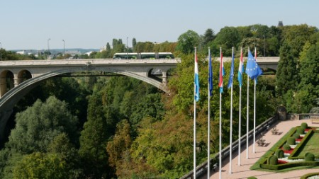 A bus crossing a bridge in Luxembourg