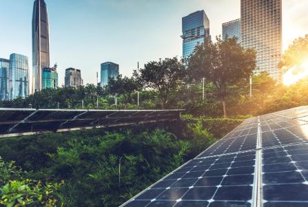 Solar panels in green city