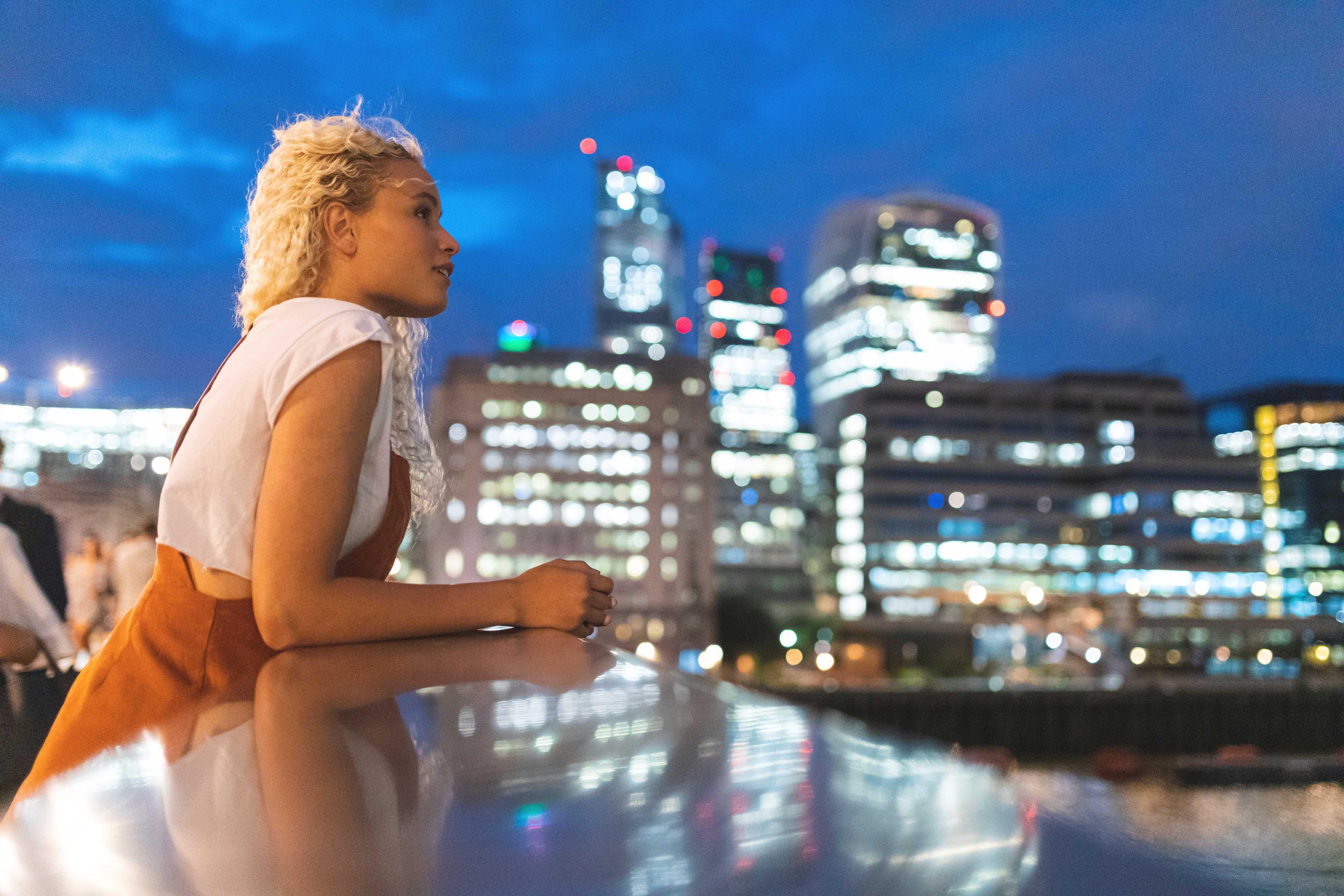 Woman on a bridge in London