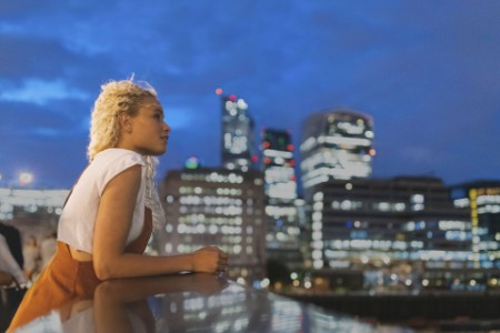Young woman at dusk in London