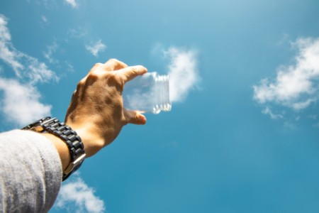 Capturing the clouds from the sky with with glass pot