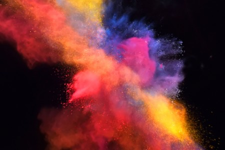 Burst of coloured powder