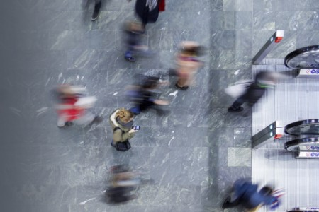 Pedestrians on busy city street