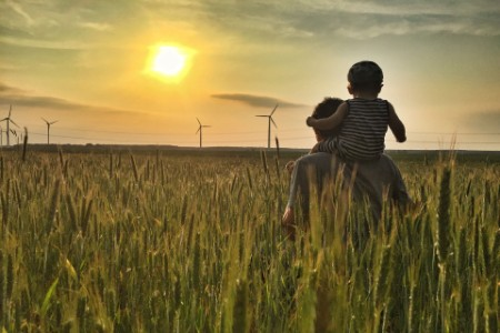 Photo of  father and son in fields looking out