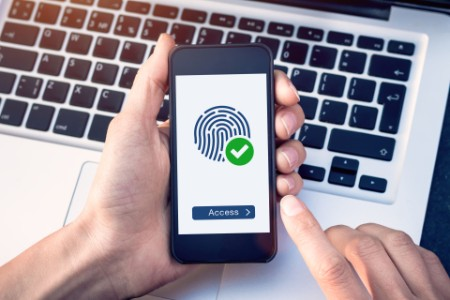 Photo secure access granted by valid fingerprint scan