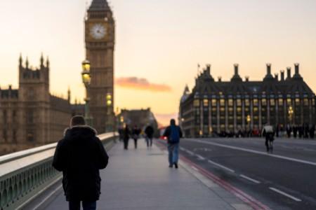 Walkers on Westminster bridge, London
