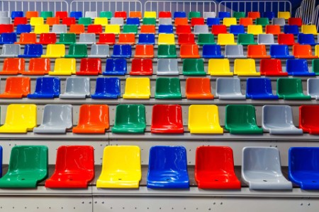 view of multi-coloured seating in an arena