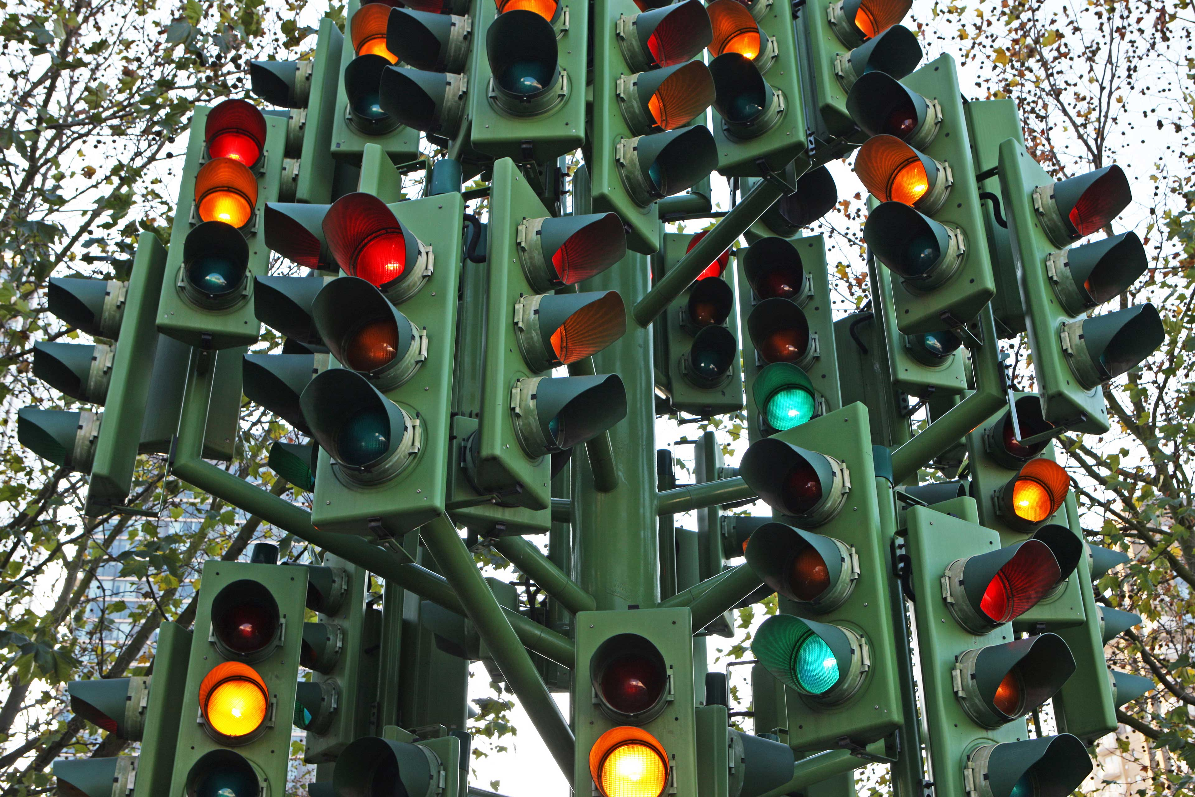 EY - Traffic light tree at intersection