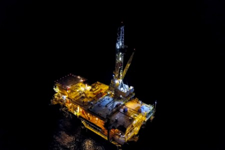 Petroleum platfrom in the dark ocean