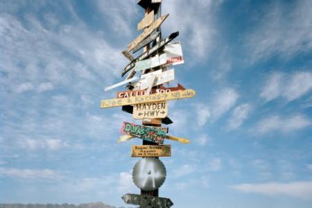 Signpost in the desert