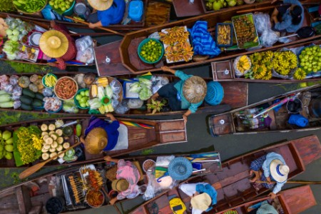 Aerial view of famous floating market