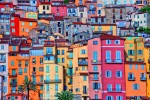 Detail scenic view of colorful houses in Provence village