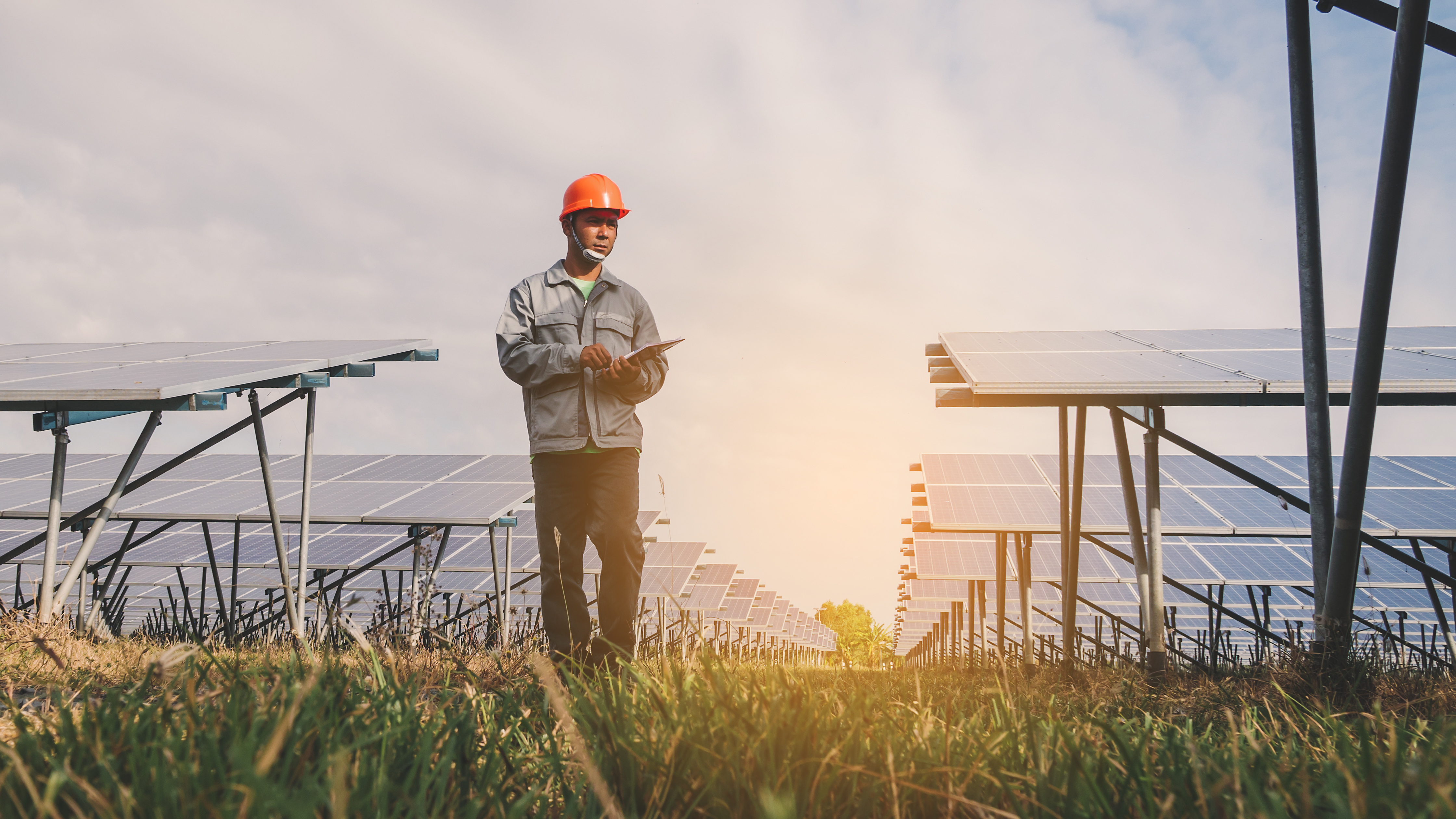 engineer or electrician inspect and checking solar equipment