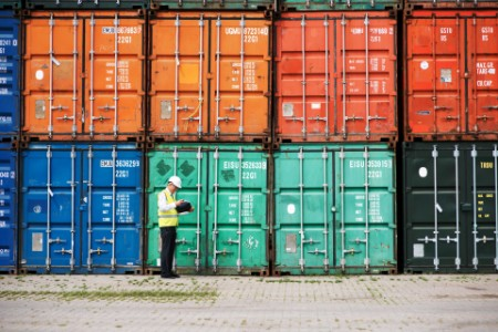Man with clipboard inspecting shipping containers