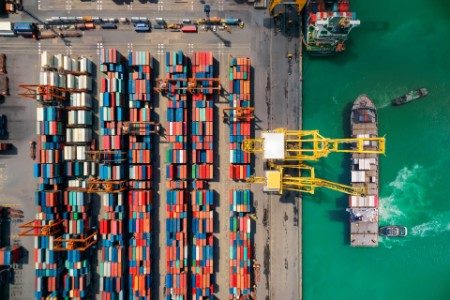 Overhead shot of a shipping port and containers