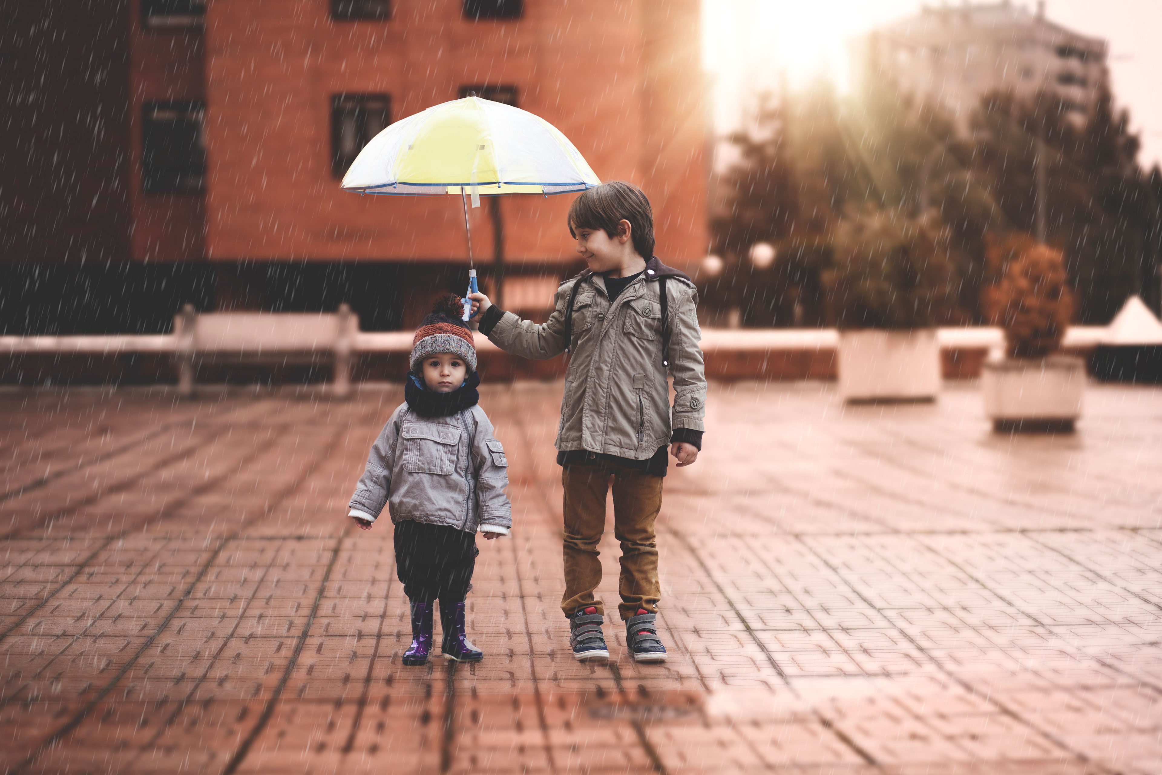 EY - Two small boys under an umbrella in the rain