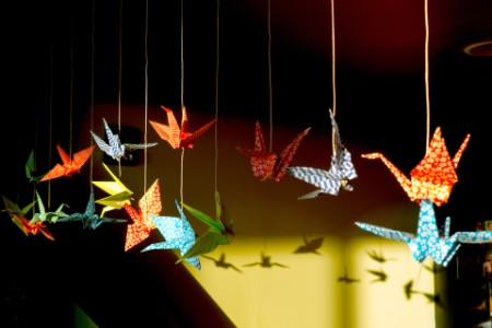 origami birds hanging
