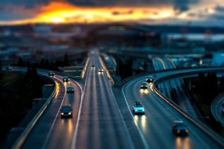 Evening road lit up