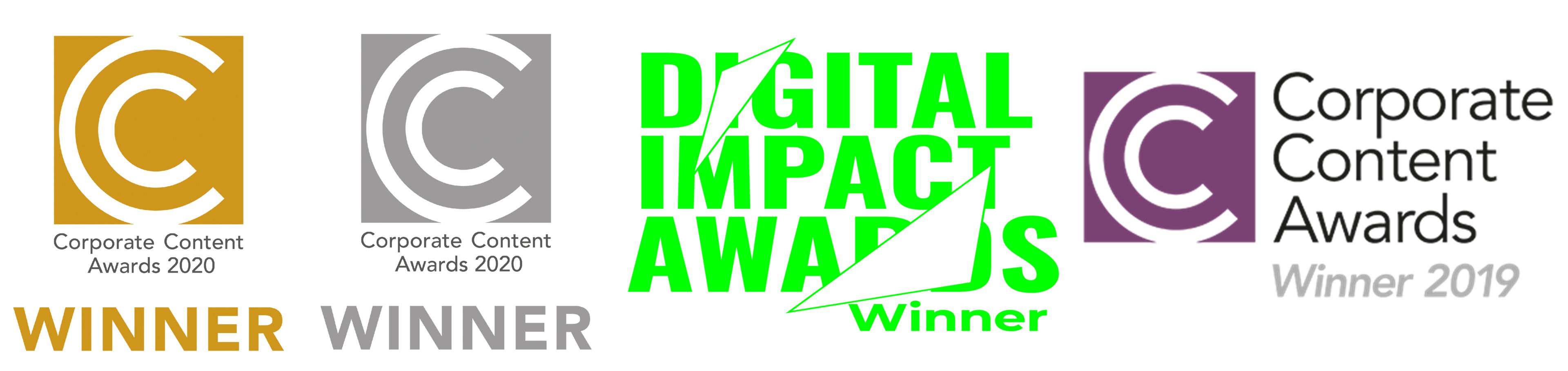Corporate content awards winner logos