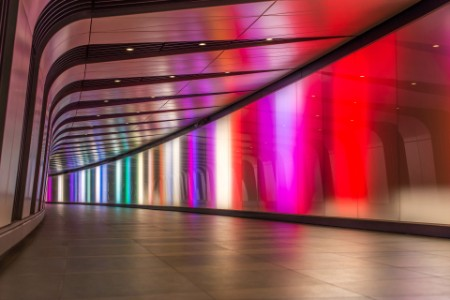 Color lights down halway