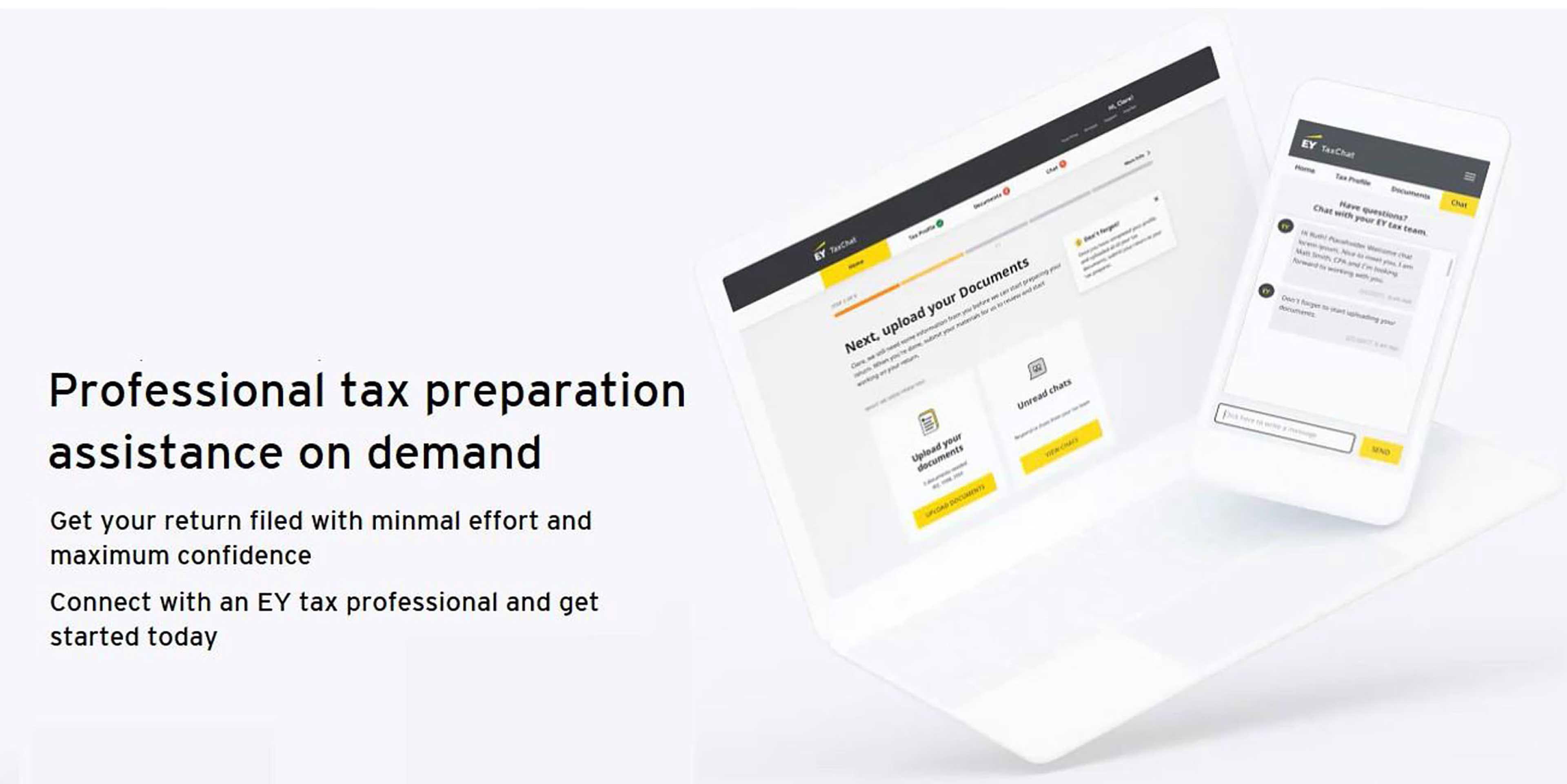Professional tax preparation assistance on demand