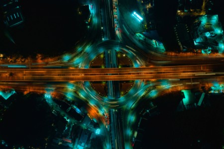 Expressway aerial top view