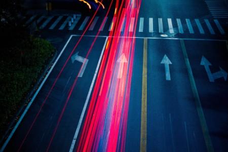 Car traffic at night