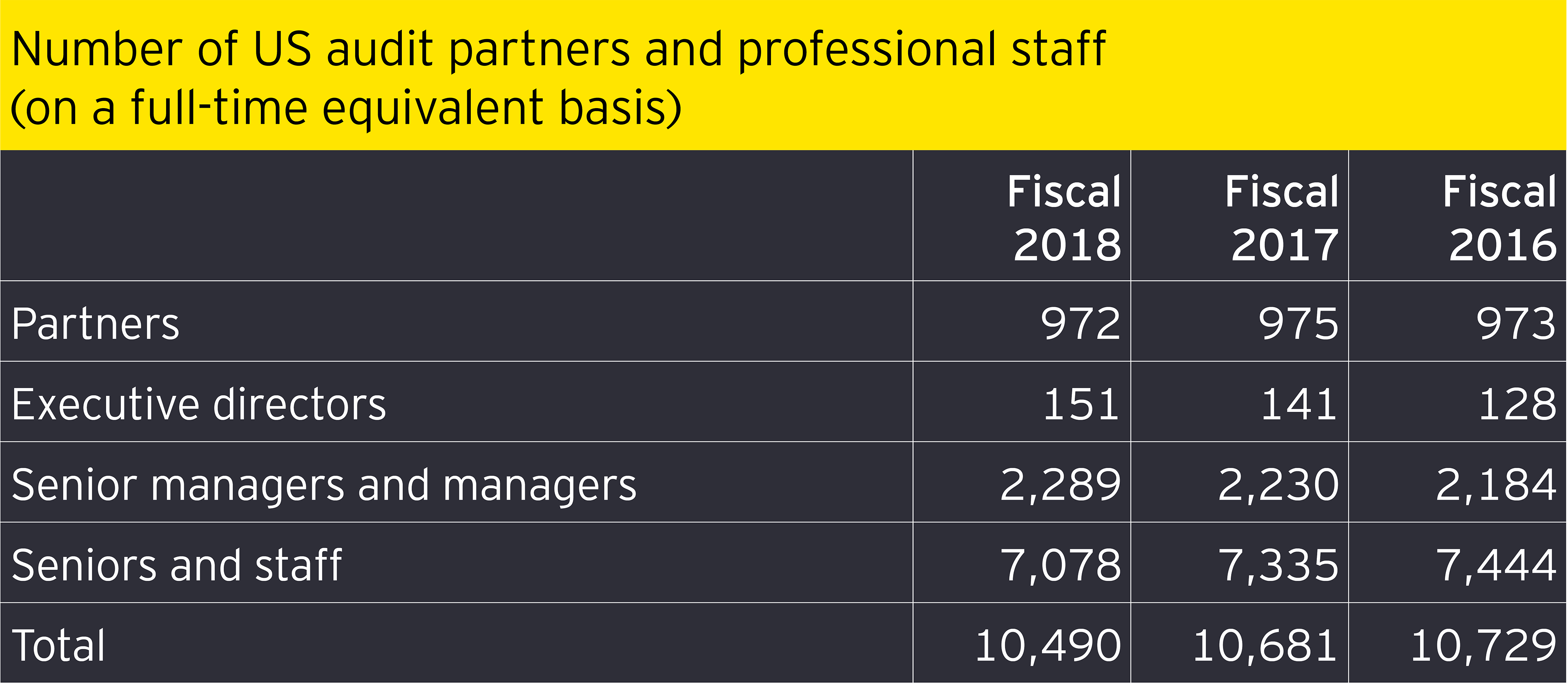 Number of us audit partners and professional staff