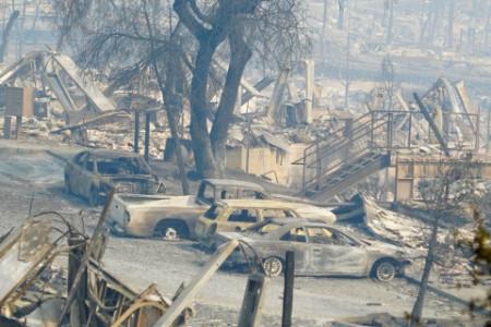 Ruins from neighborhood fire