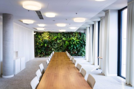 Board room with garden wall
