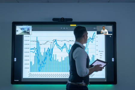 Businessman using video conferencing interactive screen