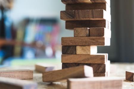Closeup image of a wooden block game
