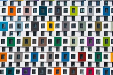 EY - Colorful facade of the new building