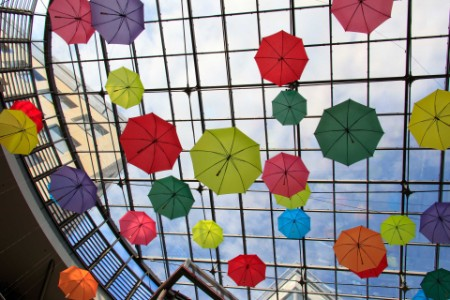 EY - Colorful umbrellas glass ceiling