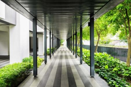 Outside walkway along a building