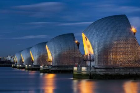 EY - Thames flood barrier at nightfall