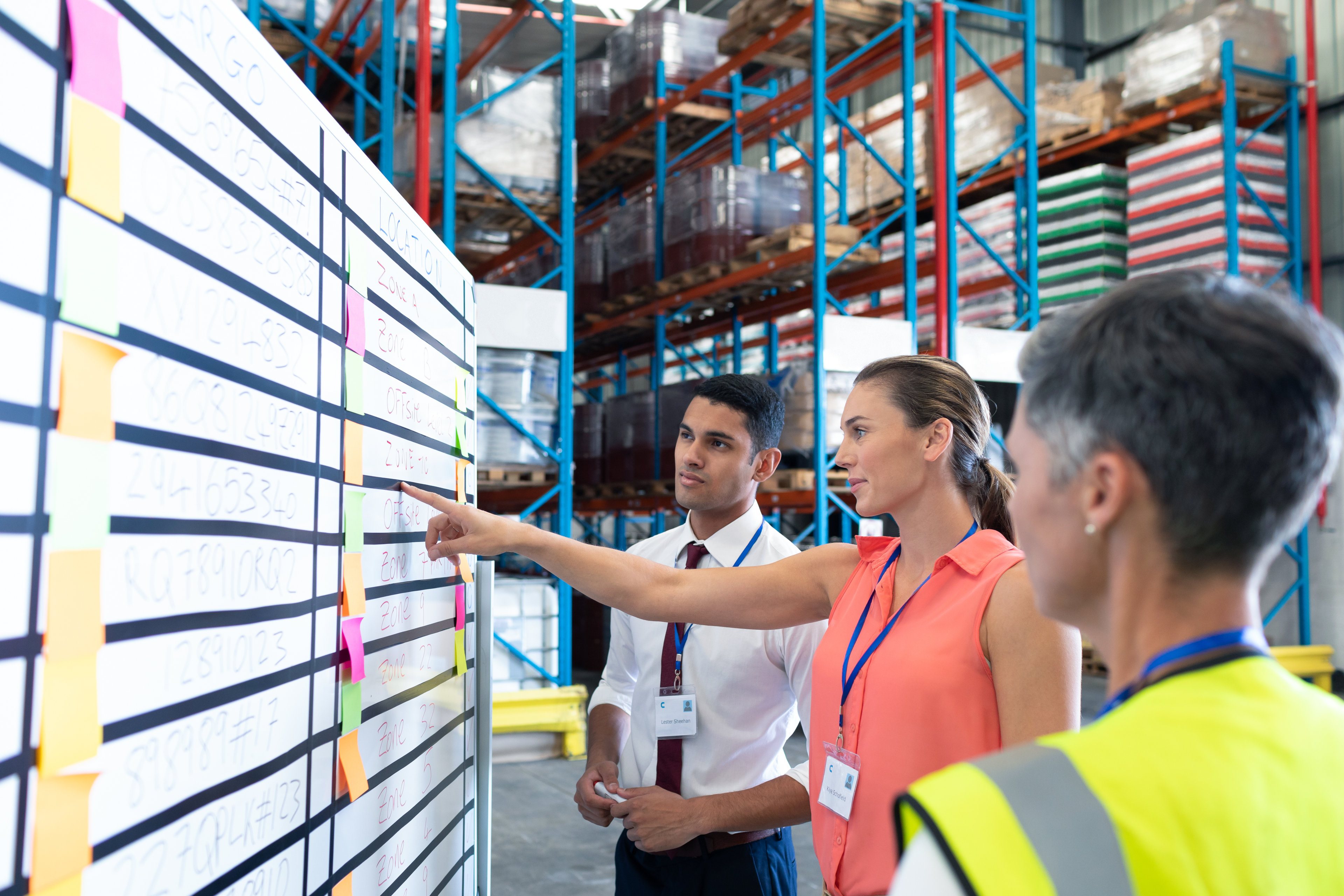 Staff people discussing over whiteboard in warehouse