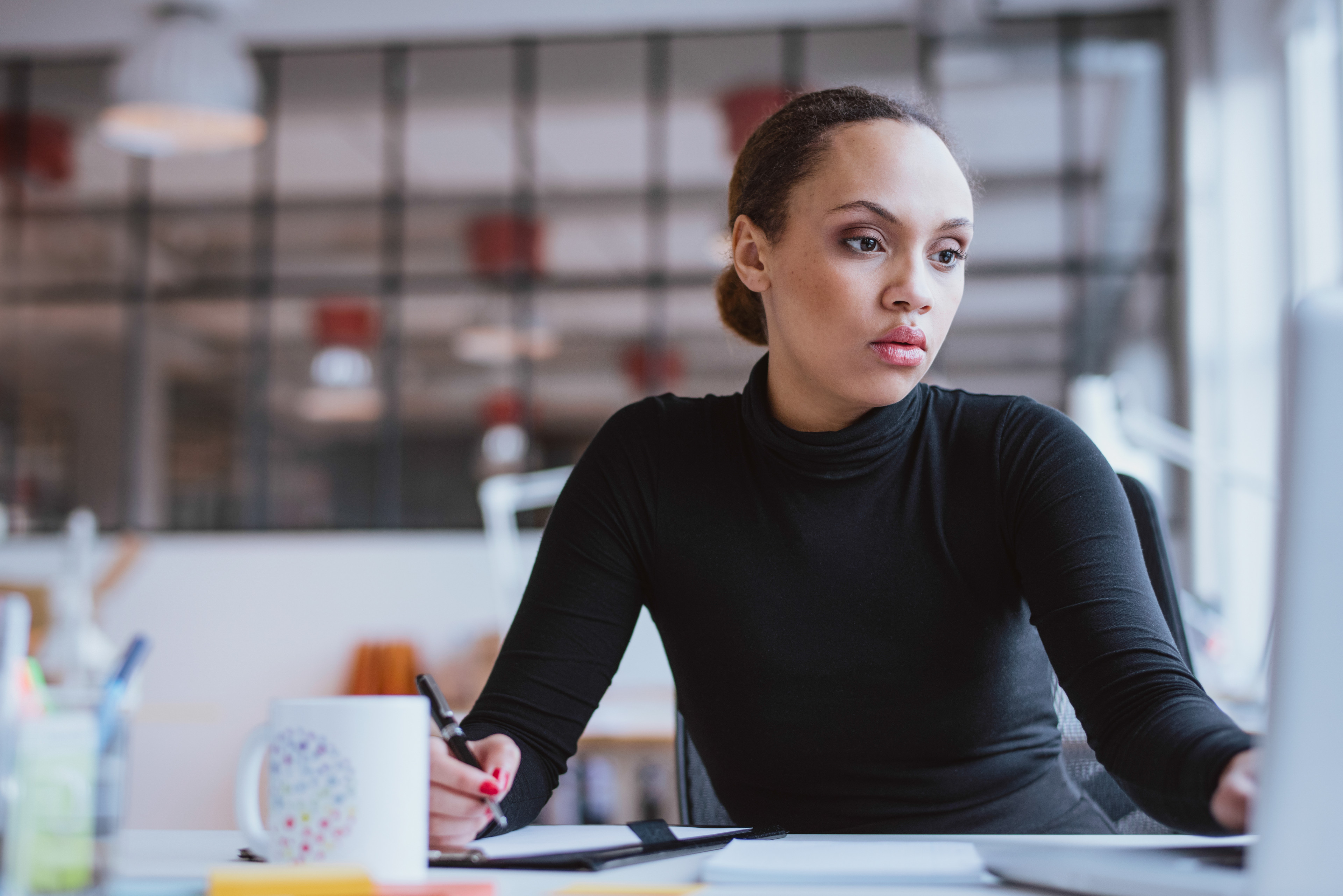 Young woman working business assignment