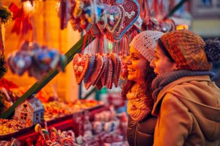 Two woman at a christimas market